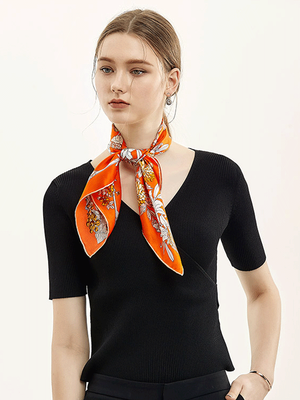 Orange Printed Silk Scarf 1022182091 69*69、REAL SILK LIFE