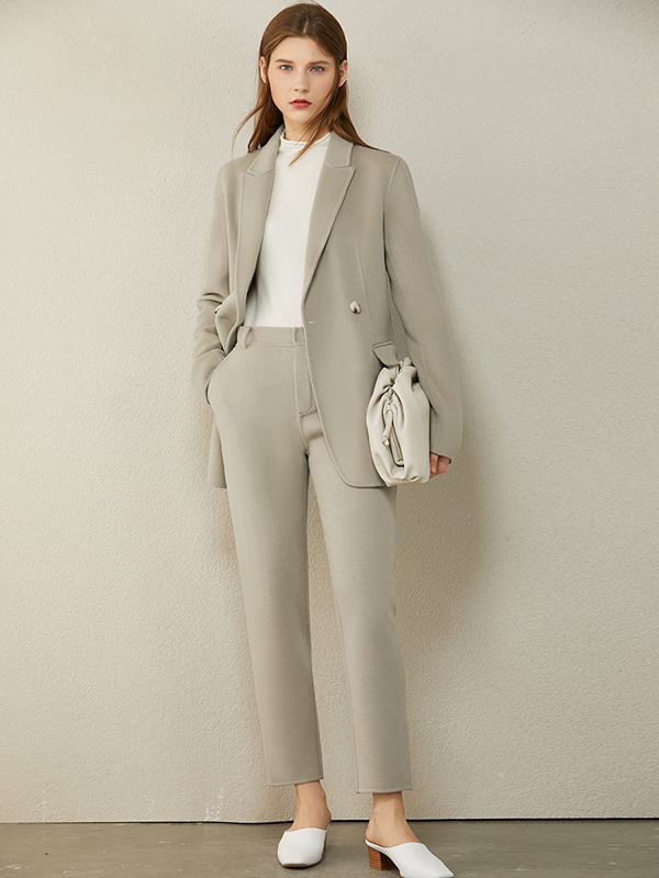 Cashmere Vintage Wool Suit With Belt| Multi-Colors Selected、Real Silk Life