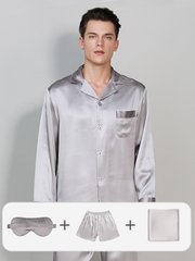 19 Momme Classic Sleepwear Set For Men | 4 pcs、Real Silk Life