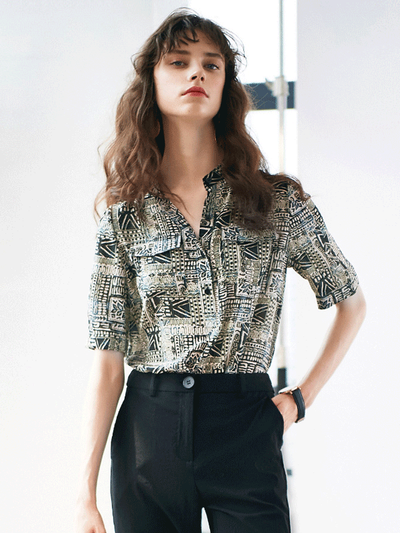 Short Sleeves Chic Black Silk Blouse、Real Silk Life