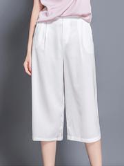 Waistband Button Detail Silk Pants Cropped Pants、Real Silk Life