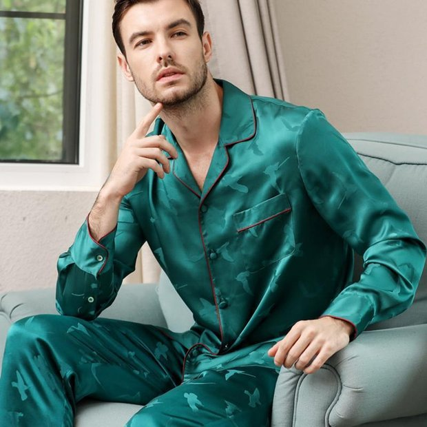 22 Momme High Quality Real Silk Pajams Set For Men、Real Silk Life