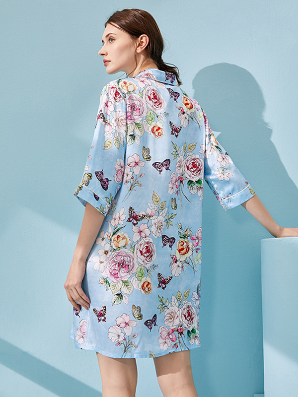 Printed Mid Length Silk Nightgown、Real Silk Life