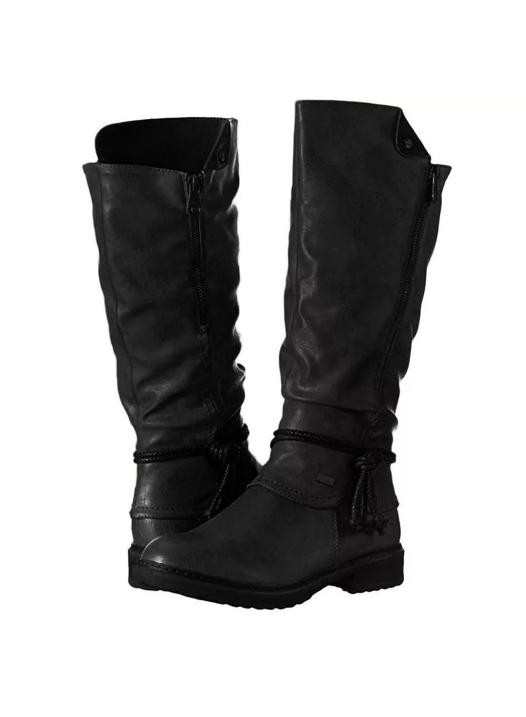 Black Low heels Round Heads High Boots LC12298-2