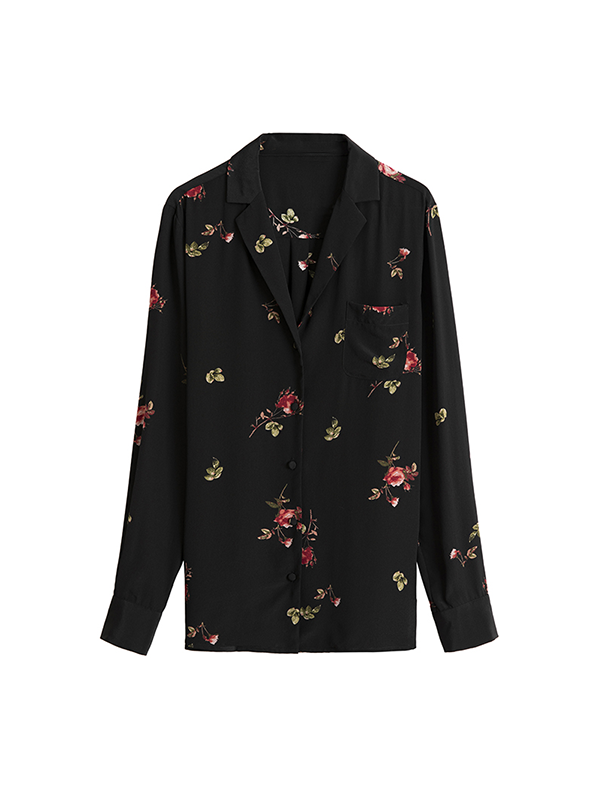 Rose Flora Printed Silk Blouse、Real Silk Life