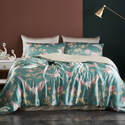 19 Momme Oriental Pink Chrysanthemum Printed Silk Duvet Cover Set | 4pcs、Real Silk Life