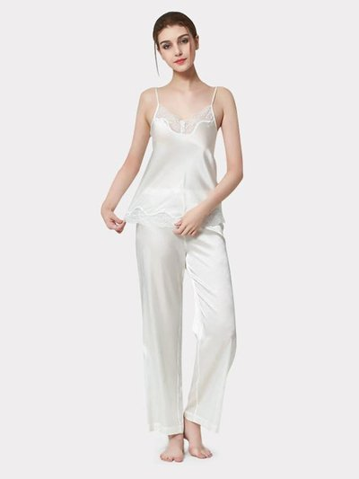 25 Momme Luxury Women's Basic Lacey Silk Camisole Set White、Real Silk Life