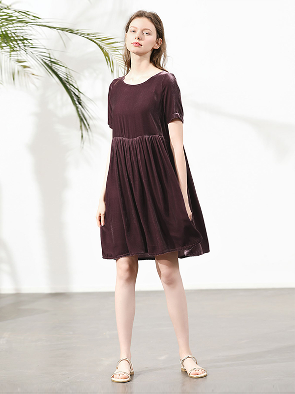 Pullover Short Sleeves Silk Velvet Nightgown For Women、Real Silk Life