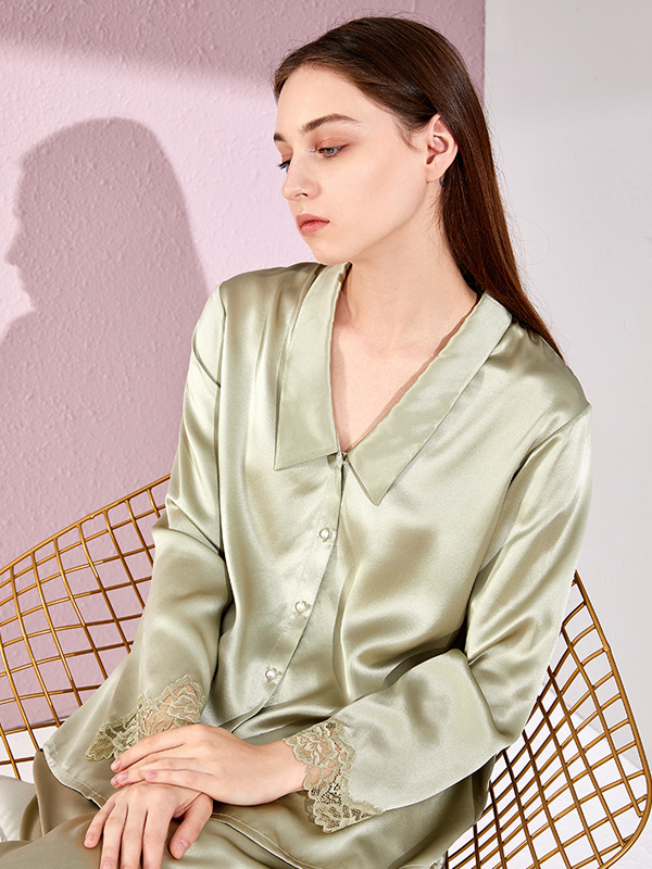 Pure Color Silk Pajamas Set With Lace Trim、Real Silk Life